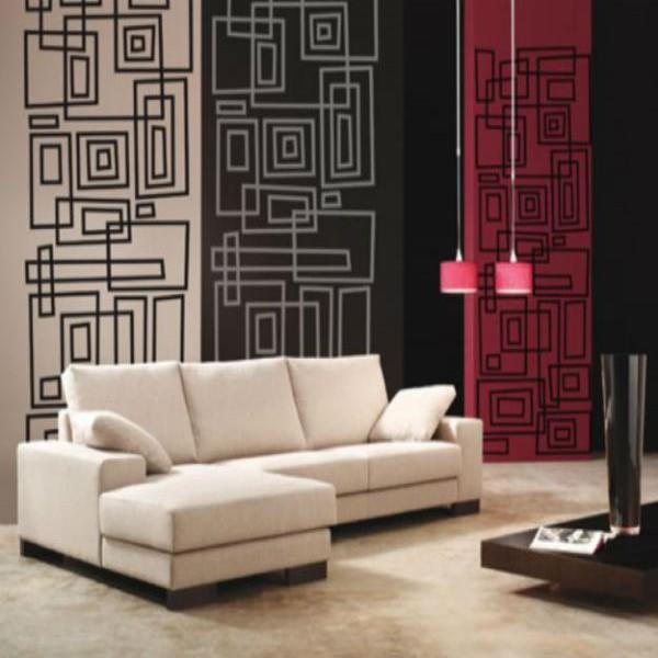 153944 papel de parede para sala formas 600x600 Leroy Merlin Papel de Parede