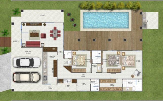 158105 Projeto de casa em formato de L 6 Planta de Casa em L