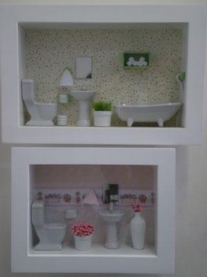 162085 cen%C3%A1rio de banheiro em miniatura Quadros decorativos para banheiro