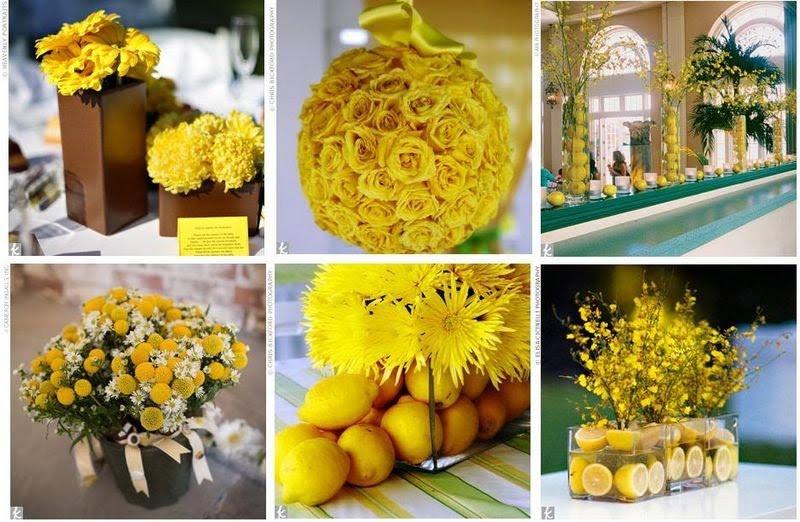 196080 flores e frutas com a mesma tonalidade de amarelo Decoração em Amarelo Casamento