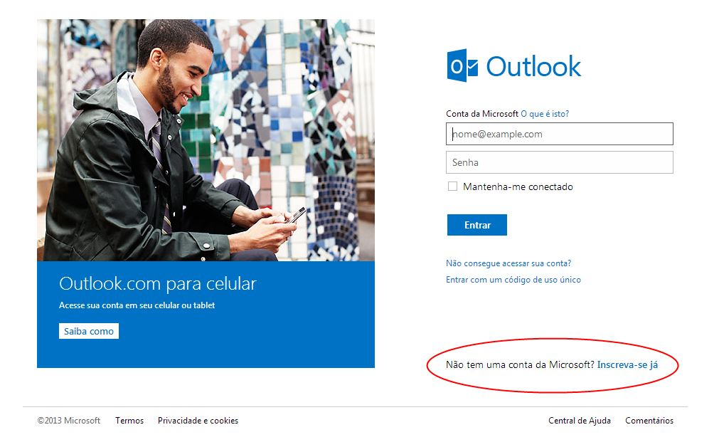 Entrar no outlook email