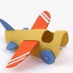 Avião de rolo de papel higiênico. (Foto: Divulgação)