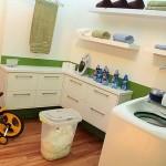 Uma lavanderia decorada e organizada mantém a casa limpa