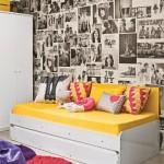 parede decorada com jornal fotos 1