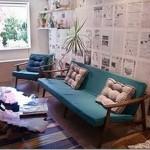 parede decorada com jornal fotos 2
