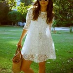 vestido branco de renda para o dia