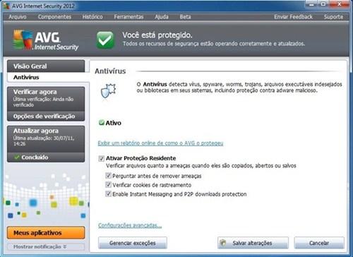 O AVG 2012 não deixará nenhum vírus em seu PC