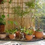 Os bambus e as plantas levam a natureza para dentro do apartamento.