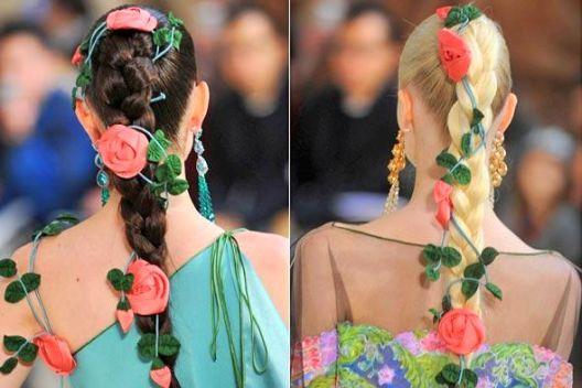 Tranças decoradas com flores
