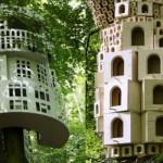 Várias casinhas para pássaros.
