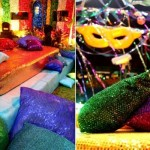 Puffs coloridos, enfeites multicoloridos e brilho na decoração (Foto: Globo.com)