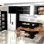 O preto e branco predomina na cozinha.