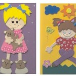 Apliques de EVA no caderno infantil decorado.