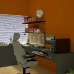 A parede laranja funciona bem no ambiente para estimular a criatividade