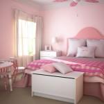 Um quarto feminino romântico, que valoriza as cores rosa e branco.