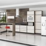 A cozinha do apartamento ficou ampla, moderna e charmosa