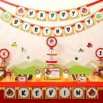 Mesa principal decorada com tema Angry Birds