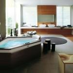 A banheira ajuda a decorar um banheiro moderno.
