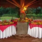 Mesa de frutas combina muito bem com festas ao ar livre.