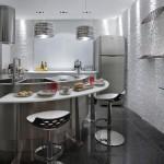 Decoração comum, moderna e baseada no estilo das cozinhas americanas.