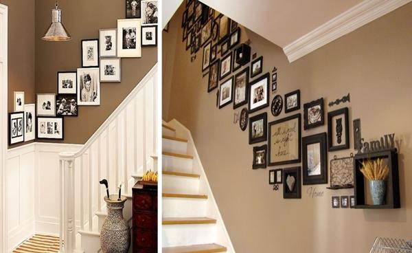 Quadros na parede da escada