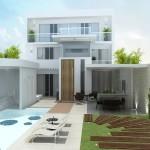 A iluminação é predominante na fachada das casas modernas.