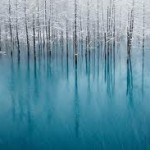 Lago congelado na Indonésia durante o Inverno.