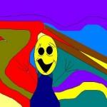 """Os traços e o colorido retratam a releitura do quadro """"O Grito"""""""