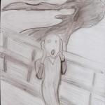 """""""O Grito"""", releitura feita em preto e branco."""