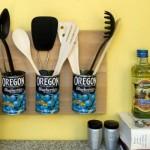 Os potes foram reaproveitados na decoração da cozinha