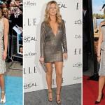 Vestidos em tonalidades de cinza e prata mantêm a elegância de Jennifer. (Foto: divulgação)