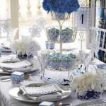 Azul foi usado junto com elementos tradicionais.