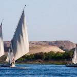 As feluccas, tradicionais embarcações de velas triangulares, são um dos passeios imperdíveis em Aswan - Egito (Foto: divulgação)