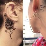 Tatuagem de rosa e pássaros atrás da orelha (Foto: divulgação)