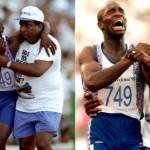 O britânico Derek Redmond era o grande favorito para a medalha de ouro na prova de 400m em Barcelona – 1992. Durante a largada, ele se lesionou, mas fez questão de ir até o final, amparado pelo pai.(Foto: Divulgação)