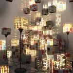 Luminárias com fita cassete (Foto: divulgação)