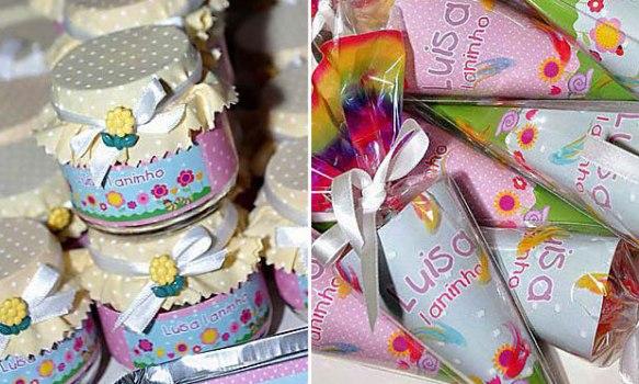 Potinhos e cones personalizados com o nome da aniversariante.  (Foto:Divulgação)