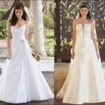 Os vestidos de noiva com decotes em V são os mais indicados para as baixinhas (Foto: divulgação).