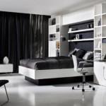 O quarto de solteiro também combina com o preto e branco. (Foto:Divulgação)