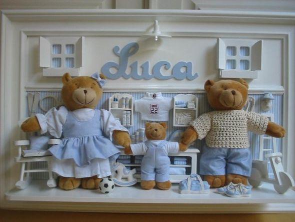 Os ursinhos são ótimas opções para enfeites de porta de maternidade (Foto: divulgação).