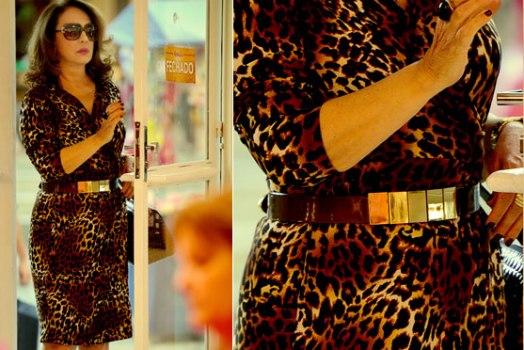 Muricy com vestido envelope de oncinha. (Foto:Divulgação)
