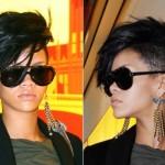 Rihanna com as laterais da cabeça raspadas. (Foto:Divulgação)