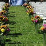 O caminho da noiva foi delimitado com flores do campo. (Foto:Divulgação)