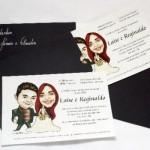 Convite decorado com a caricatura dos noivos. (Foto:Divulgação)
