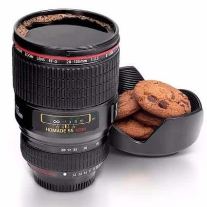 presente caneca termica formato de lente fotografica