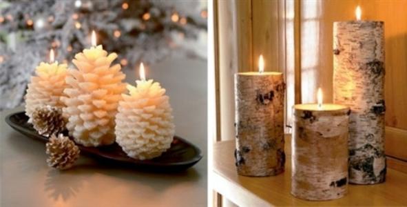 Decoração com velas para a noite de Natal