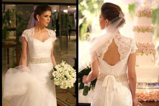 O vestido de noiva com manguinha é charmoso e delicado. (Foto:Divulgação)