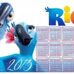 Calendário do filme Rio 2013. (Foto:Divulgação)