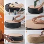 Mesa de centro ou puff com pneus (Foto: Divulgação)