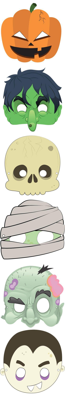 mascara de halloween coloridas para imprimir